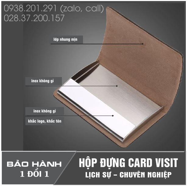 Hộp ví bóp đồ đựng name card visit da đen cao cấp giá rẻ khắc tên quà tặng khách hàng